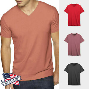 Mens V Neck T shirts Short Sleeve Tee Solid Casual Premium Cotton Basic Daily $8.99