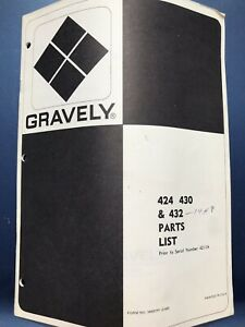 Gravely 424 430 432 Lawn Garden Tractor Parts List Manual Catalog~269
