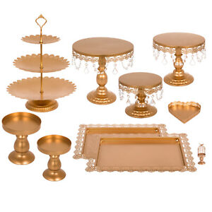 9Pc Cake Stand Set Metal Cupcake Holder Display Plate with Crystal Wedding Party