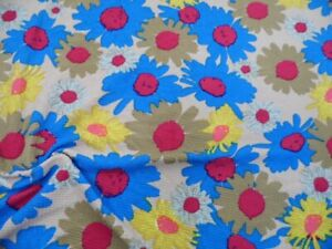 Bullet Printed Liverpool Textured Fabric 4 wy Stretch Blue Yellow Sun Flower V30
