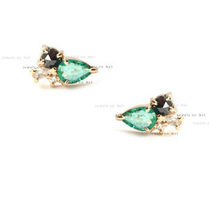 Genuine Emerald White Topaz Gemstone Stud Earrings Solid 14k Yellow Gold Jewelry