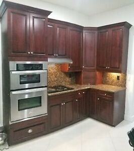 Kitchen with real wood cabinets customized