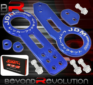 Universal Jdm Sport Front Rear Tow Hook Chassis Mount Emergency Towing Arm Blue