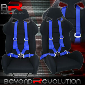 2X Universal Black Racing Cuga Style Bucket Seats + 4Pt Camlock Blue Seatbelts