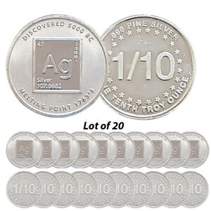 Lot of 20 -- New 1/10 oz AG Periodic Table .999 Fine Silver Rounds