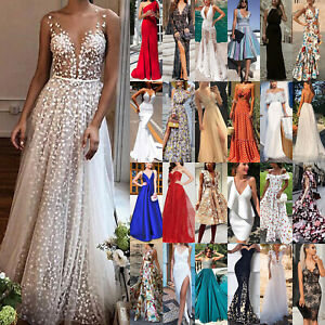 Women Formal Bridesmaid Wedding Prom Gown Evening Party Cocktail Long Maxi Dress