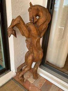 Antique Hand Carved Solid Wood Carousel Stallion Horse Sculpture ~ 42