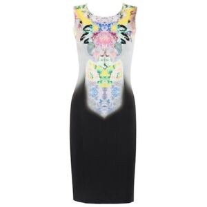 ETRO Floral Kaleidoscope Gray Ombre Sleeveless Shift Cocktail Dress NWT