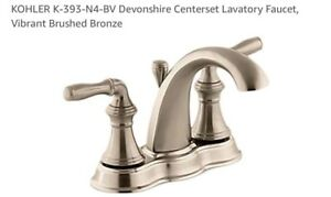 KOHLER Brushed Bronze Devonshire Center Set Lavatory Faucet K-393-N4-BV BATHROOM
