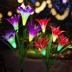 Solar Powered Lily/Rose Flower LED Lights Stake Yard Garden Outdoor Lamp Deco US