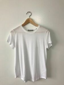 W054 NWT VINCE SHIRT TAIL CREWNECK WOMEN TEES SIZE XS, S, M in WHITE $68