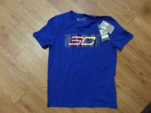 euc-Under Armour Long Sleeve Polo Shirt Blue Large L ylg-loose fit