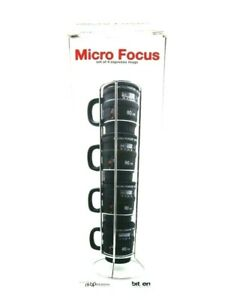 NUOP Design Micro Focus Camera Lens Espresso Coffee Cup Tower w holder Set of 4