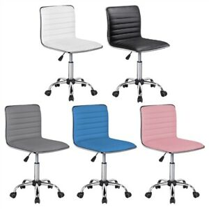 Low Back Armless Desk Chair Ribbed Armless Swivel Task Chair Office Chair White