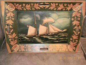 ANTIQUE WOODEN SERVING TRAY W OIL PAINTING OF SHIP ( 16 Star Flag )