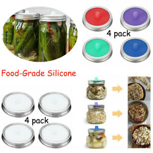 4pcs Airlock Fermentation Lids for Wide Mouth Mason Jar&4X Stainless Steel Bands