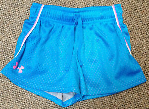 GIRLS youth XS UNDER ARMOUR SHORTS LOOSE heat gear BLUE LINED SUPER CUTE EUC