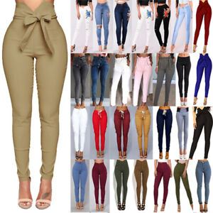 Womens High Waisted Jeans Jeggings Trousers Stretchy Ripped Skinny Long Pants US