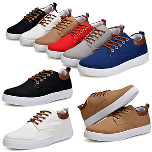 Mens Casual Canvas Sports Shoes Trainers Rubber Sole Sneakers Lace Up Shoes Size