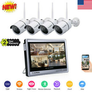 WiredWireless 4CH 1080P NVR Outdoor 720P WiFI IR-CUT Camera Security System Kit