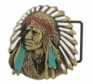 Native American Indian Chief Bronze Plated Enamel Western Metal Belt Buckle