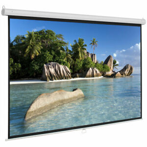 Upgraded 100inch HD Pull Down Manual Projector Screen-White Matte IndoorOutdoor