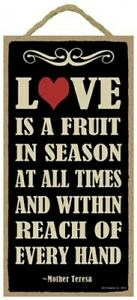 LOVE IS A FRUIT IN SEASON AT ALL TIMES AND WITHIN...Cute 10x5 Wood Sign Gift 904