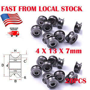 20pc U624ZZ4 Deep U Groove Pulley Rail Ball Bearing Sealed Guide Wire Line Track