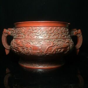 15 Chinese old antique Lacquer ware mark double dragon ear Incense Burner