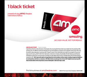 QUICK DELIVERY. AMC Black Movie Tickets. (Any State Any Movie) - No Exp