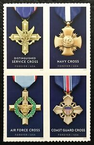 2016 Scott #5065 -5068 - Forever - SERVICE CROSS MEDALS  - Block of 4 - Mint NH