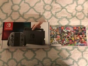 New Nintendo Switch 32GB Gray Console (with Gray Joy-Cons) With 3 Games