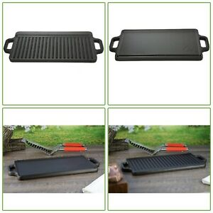 Reversible Small Pre Seasoned Cast Iron Griddle Cookware Outdoor Camping Grill