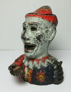 ORIGINAL Antique HUMPTY DUMPTY Clown CAST IRON MECHANICAL BANK SHEPARD HARDWARE