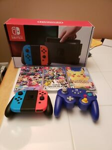 Nintendo Switch 32GB Console with Neon Red and Neon Blue Joy-Con Bundle