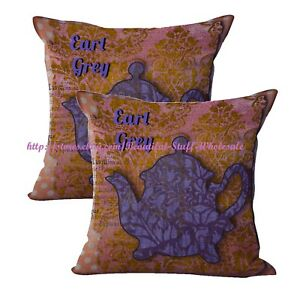 2pcs home decoration cover throw earl grey teapot cushion cover $21.96