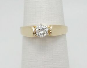 Zales 13CT Round Diamond Solitaire Engagement Wedding Ring 14K Yellow Gold
