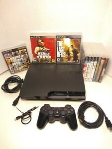 Sony PlayStation 3 PS3 160GB Slim Console Complete Bundle W 10 Games EXCELLENT