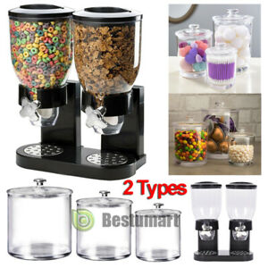 Double Chamber Dry Food Dispenser Twin Containers + Set of 3 Clear Acrylic Jars