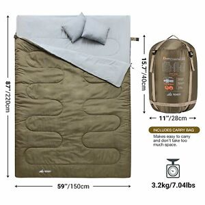 Double Sleeping Bag Waterproof Lightweight Green with Carry Bag and 2 Pillows
