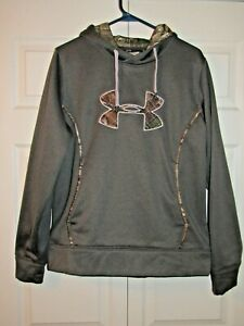 Womens Gray Under Armour With Camo Trim Cold Gear Storm 1 Hoodie Size L