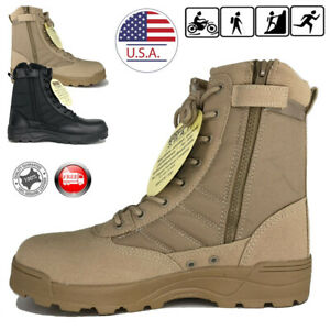 Mens Black Desert Tan Military Tactical Work Boots with Zipper Duty Work Hiking