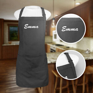 Kaufman Personalized Apron.Free Name Embroidered Adjustable Neck Front 2 pockets