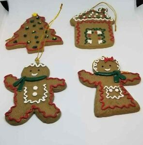 Christmas Tree Ornaments Set of Four Gingerbread Cookies Frosting Hanging Boxed