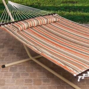13 Ft Outdoor 2 Person Free Standing Quilted Hammock with Steel Stand