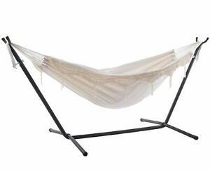 Outdoor Double Hammocks Chair Hanging Bed Swing with Space Saving Steel Stand