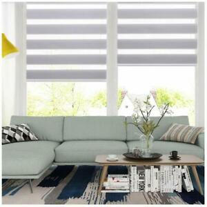 Horizontal Window Shade Blind Zebra Dual Roller Blinds CurtainsEasy to Install $38.99