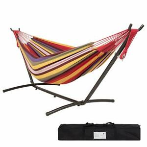 Outdoor Patio 2 Person Hammock Chair Camping Hanging Bed Swing with Steel Stand