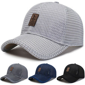 Men's Baseball Cap Trucker Hat Snapback Solid Visor Mesh Plain Blank Hats Caps
