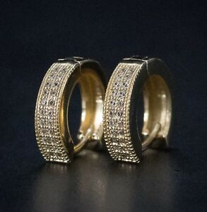 Lab Simulated Diamond Iced 14k Gold Sterling Silver Huggie Hoop Clip On Earrings